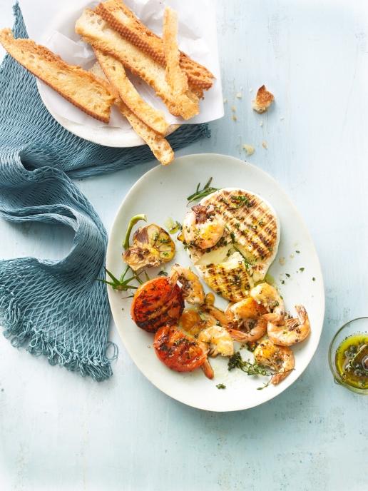 Garnelen-Camenbert-Tomaten Vom Grill