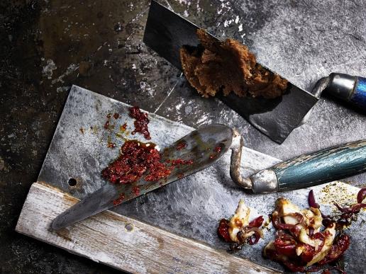 Baconjam, Makrelenkonfit und Pfefferpaste